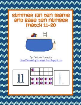 Summer Fun Ten Frame and Base Ten Number Match Activity