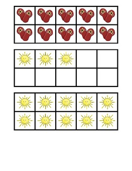 Summer Fun Ten Frame and Base Ten Number Match Activity