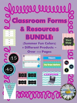 Classroom Forms & Resources BUNDLE 'Summer Fun' color theme  Back To School