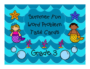 """ Summer Scoot "" Math Problem Solving Task Cards ... Grade 3"