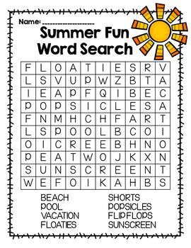 Summer Fun Word Search
