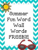 Summer Fun Word Wall Words FREEBIE