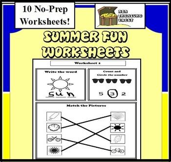 Summer Fun Worksheets Autism, ABA