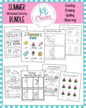 Summer Fun Worksheets Bundle! No Prep!