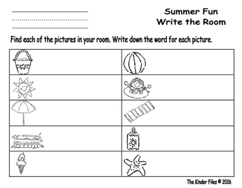 Summer Fun Write the Room- Includes 3 levels of answer sheets