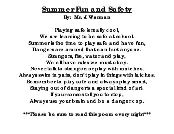 Summer Fun and Safety Poem