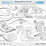 Summer Fun, Nautical Ocean ClipArt, Beach Wave Line Art, Surf's Up