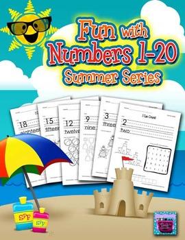 Number Recognition Worksheets - 1-20 for Summer