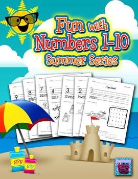 Number Recognition Worksheets - 1-10 for Summer