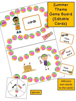Summer Game Board {Editable Cards}