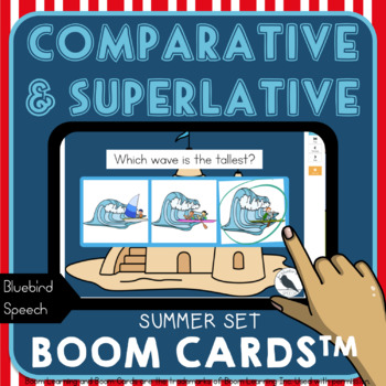 Comparative/Superlative Speech Therapy Grammar Cards: Summer Actions/Adjectives