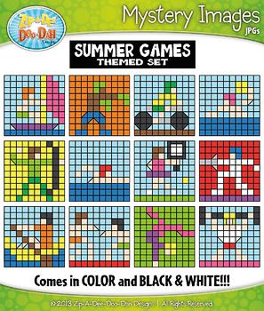 Summer Games Mystery Images Clipart {Zip-A-Dee-Doo-Dah Designs}