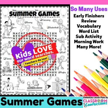 Summer Activity: Summer Games Word Search