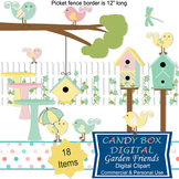 Summer Garden Clip Art With Birds And Birdhouses