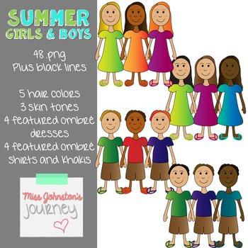 Summer Girls & Boys Bundled Clipart
