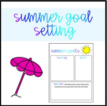 Summer Goal Setting Sheet
