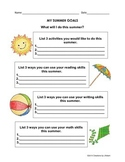 Summer Goal Setting Worksheets