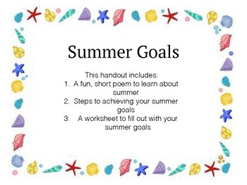 Summer Goals Worksheet