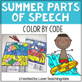 Summer Grammar Coloring Pages Parts of Speech