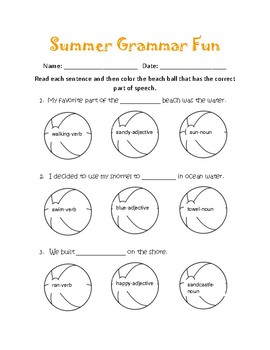 Summer Grammar Fun