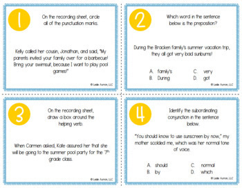Summer Grammar Task Cards