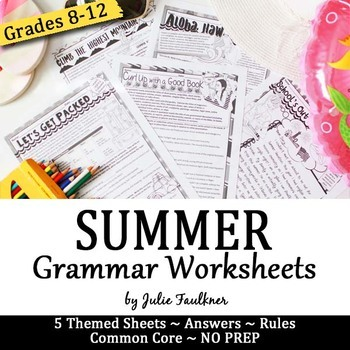 Summer Grammar Worksheets, NO PREP, Middle and High School