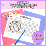 Summer Guided Grid Drawing: No Prep Visual Motor Integrati