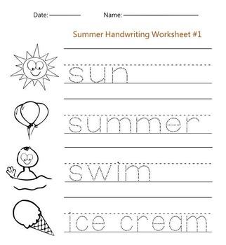 Summer Handwriting Worksheet #1 by Handwritables   TpT