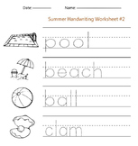 Summer Handwriting Worksheet #2