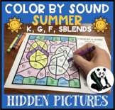 Summer Hidden Pictures Color by Sound for K, G, F, & SBLENDS