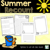 Summer Holidays - Recount Writing