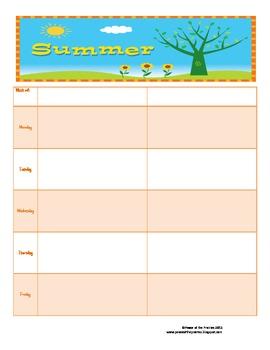 Summer Homeschool Planner