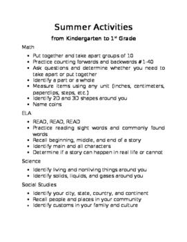 """Summer """"Homework"""" Activities"""