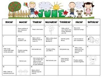 Summer Homework Calendar