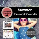 Summer Homework Calendar: Classroom Essentials