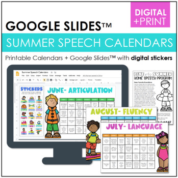 Summer Homework Calendars For Speech Articulation Language