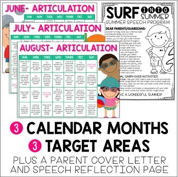 Summer Homework Calendars for Speech {Articulation, Language & Fluency}