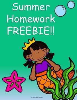 Summer Homework Freebie!!