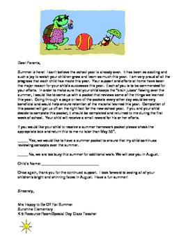 Summer Homework Letter