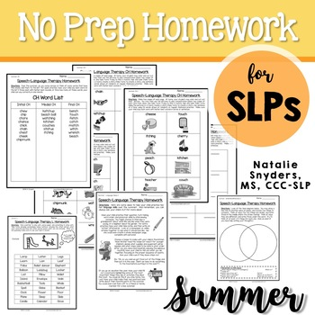 Summer Homework Packet for Speech-Language Therapy