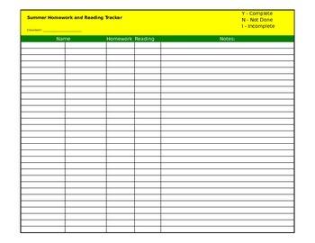 Summer Homework & Reading Tracker - Editable
