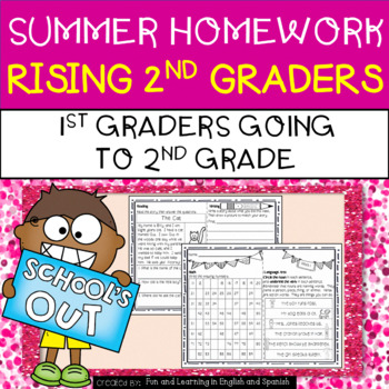 Summer Homework for Rising 2nd Graders (1st Graders going to 2nd Grade)