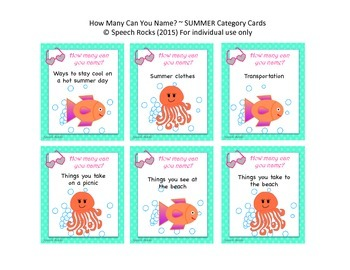 Summer ~ How Many Can You Name? Conversation & Oral Expression Cards {FREEBIE}