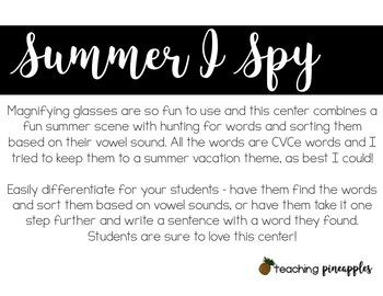 Summer I Spy... with CVCe words!