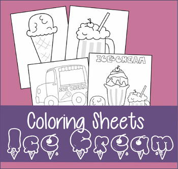 Summer Ice Cream Coloring Sheets