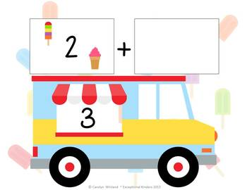 Summer Ice Cream Treats Addition Mats - Decomposing Numbers