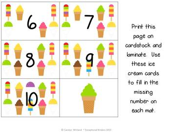 Summer Ice Cream Treats Subtraction Mats