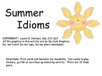 Idioms List Summer Idioms by Teach...