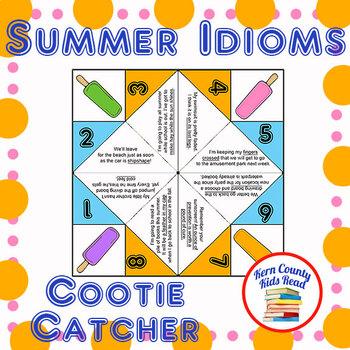 Summer Idioms Cootie Catcher Figurative Language Fortune Teller