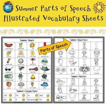 Summer Illustrated Vocabulary Sheets